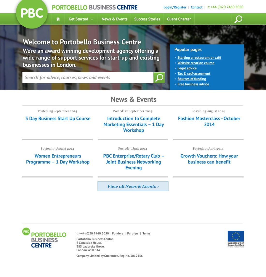 Website design for the Portobello Business Centre