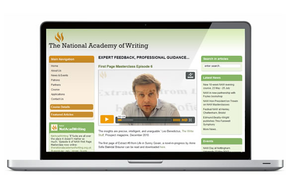 web design for the National Academy of Writing