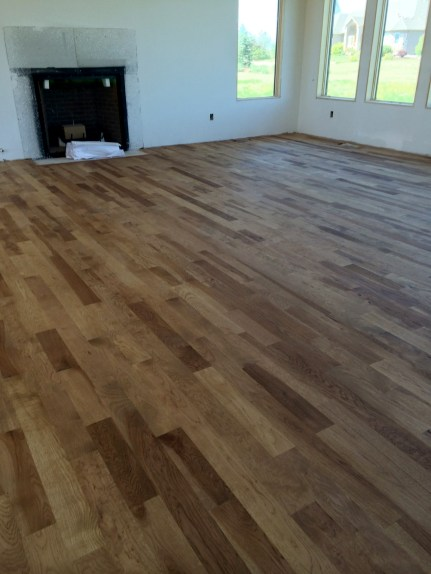 Living room floor after stain and first coat of poly finish