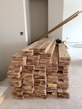 Stacks of wood ready for installation