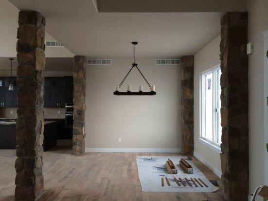 Dining Room Light & Stone Columns