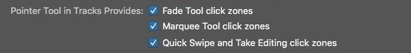 Logic Pro X Click Zone Menu