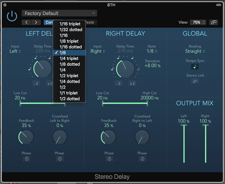 Logic Pro X Stereo Delay note values
