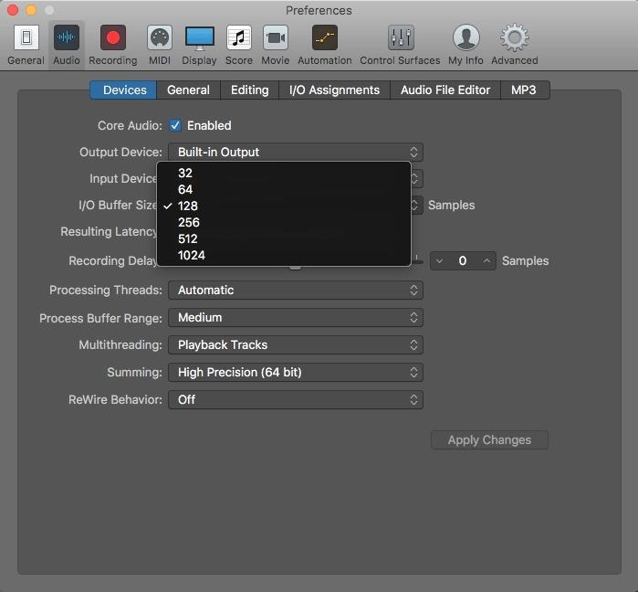 Logic Pro X Buffer Size