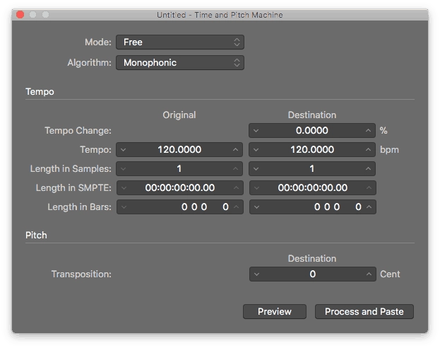 Logic Pro X Audio File Editor Functions Time and Pitch Machine