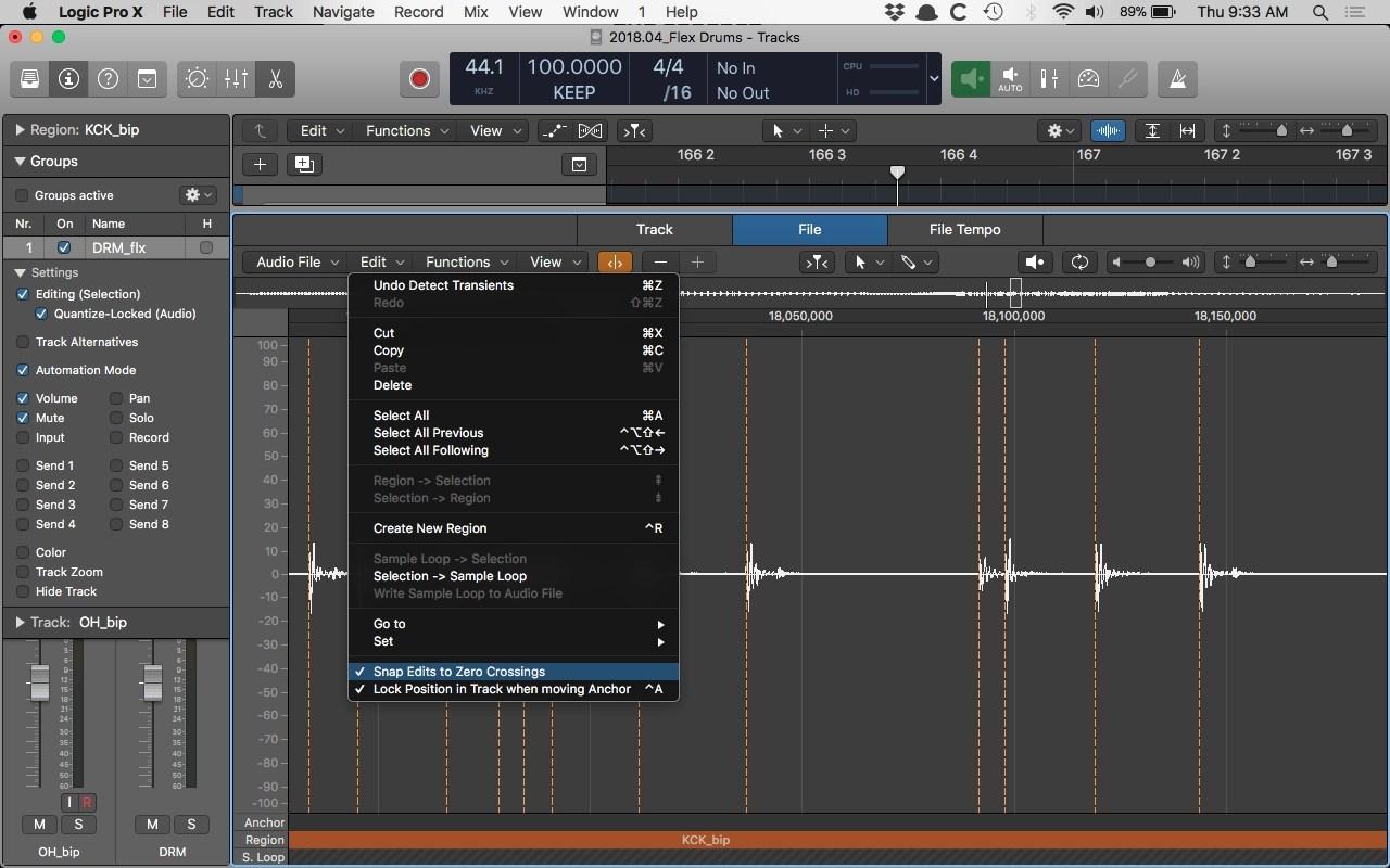 Logic Pro X Audio File Editor Snap Edits to Zero Crossings