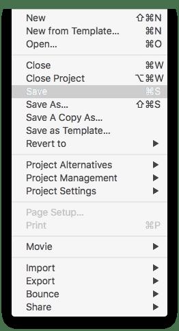 Logic Pro X File > Save