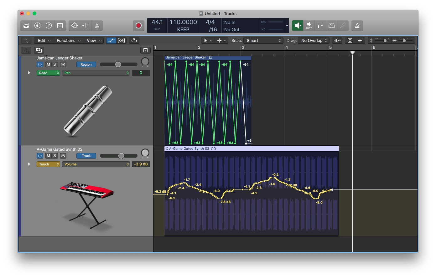 Logic Pro X Track-based and Region-based Automation