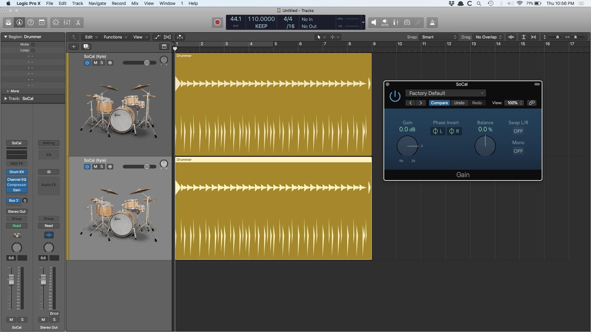 Logic Pro X Drummer Gain Plugin Phase Inverted