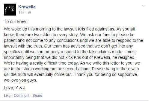 Krewella response facebook screenshot
