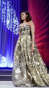 First lady Michelle Obama wore Naeem Khan gown to the Congressional Black Caucus dinner in Washington, Sept. 17, 2016. (Photo: Pool, Getty Images)