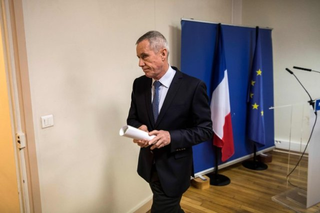 The Paris prosecutor, François Molins, after delivering a statement on Friday about the investigation into what he said was a thwarted terrorist plot. (PHOTO CREDIT: Lionel Bonaventure/Agence France-Presse — Getty Images)