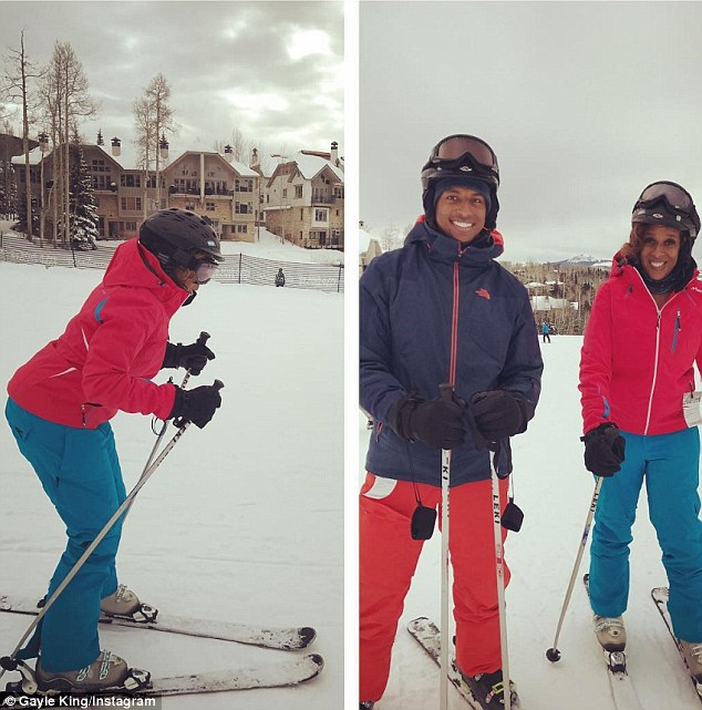 Hitting the trails: Gayle went skiing with her son on Wednesday before her daughter's arrival
