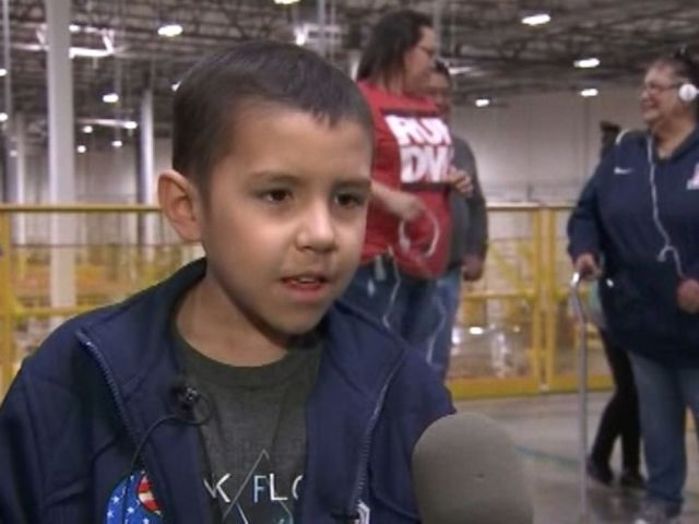 Ben Bicknese, 8, of Tuscon, Arizona, got his birthday wish to visit the Amazon shipping facility in Phoenix on Jan. 10.