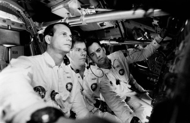"From left, Mr. Paxton, Kevin Bacon and Tom Hanks as the astronauts who tell Houston they've had a problem in ""Apollo 13."" Credit Ron Batzdorff/Universal Pictures"