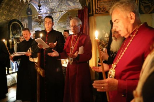 Archbishop Justin Welby visits the three main holy sites in the Old City of Jerusalem with Archbishop Suheil Dawani, 3rd May 2017. Lambeth Palace