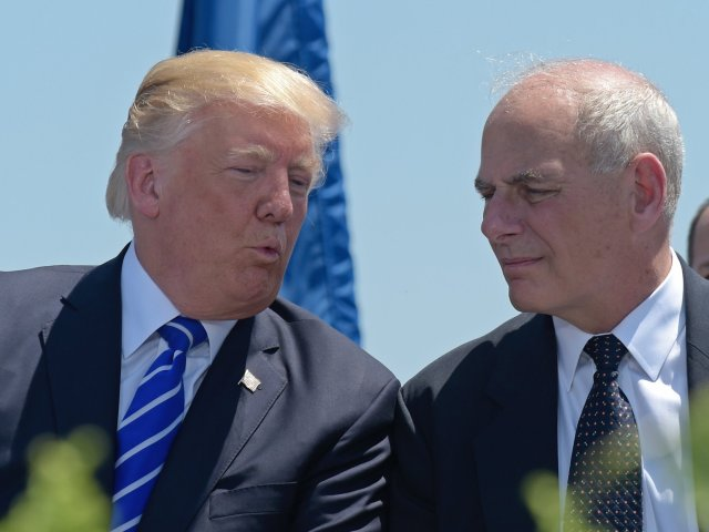 In this May 17, 2017, file photo, President Donald Trump talks with Homeland Security Secretary John Kelly during commencement exercises at the U.S. Coast Guard Academy. Associated Press/Susan Walsh