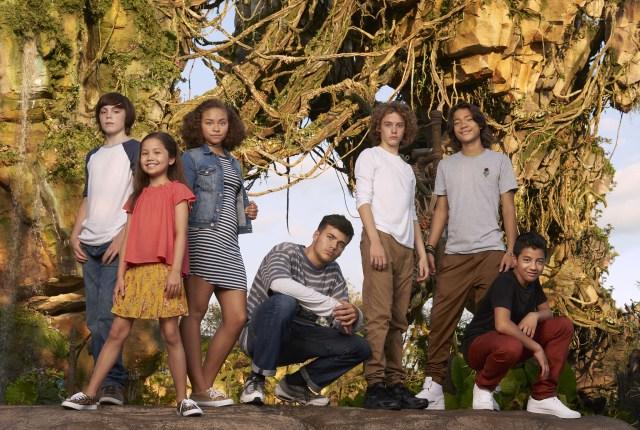 From left: Jack Champion, Trinity Bliss, Bailey Bas, Jamie Flatters, Britain Dalton, Filip Geljo and Duane Evans Jr. in Disney World's Pandora. (Sheryl Nields)