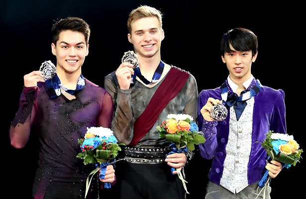 From Left to Right: Camden Pulkinen (USA), Alexei Krasnozhon (USA), and Mitsuki Sumoto (JPN) Photo © Robin Ritoss