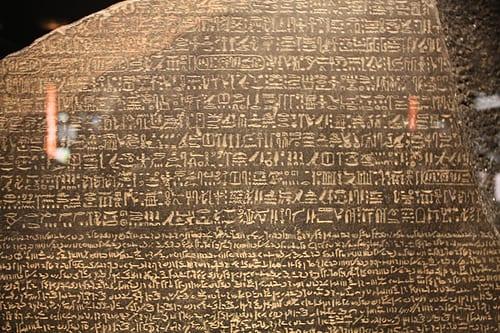 Close up of the Rosetta Stone replica