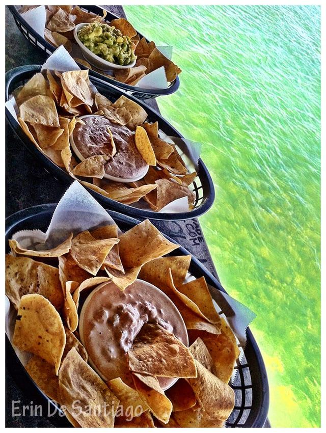 Palapa Bar & Grill dips - guacamole, sausage, and bean