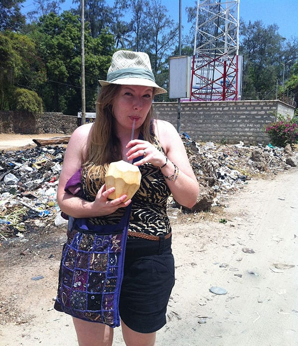 Sampling a fresh coconut juice