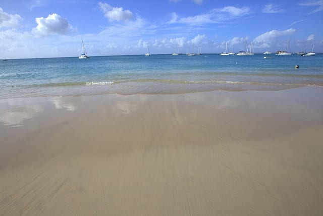 Pristine Beach on St. Martin in the Caribbean