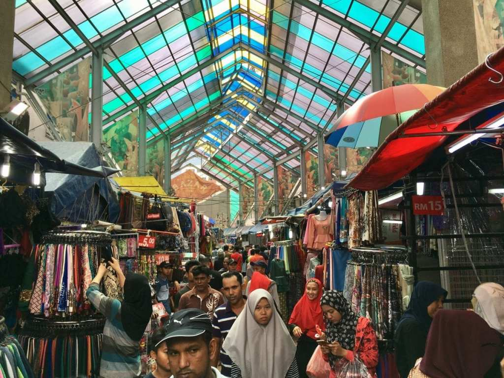 The colorful tent and stalls at the Ramadan Market in Kuala Lumpur