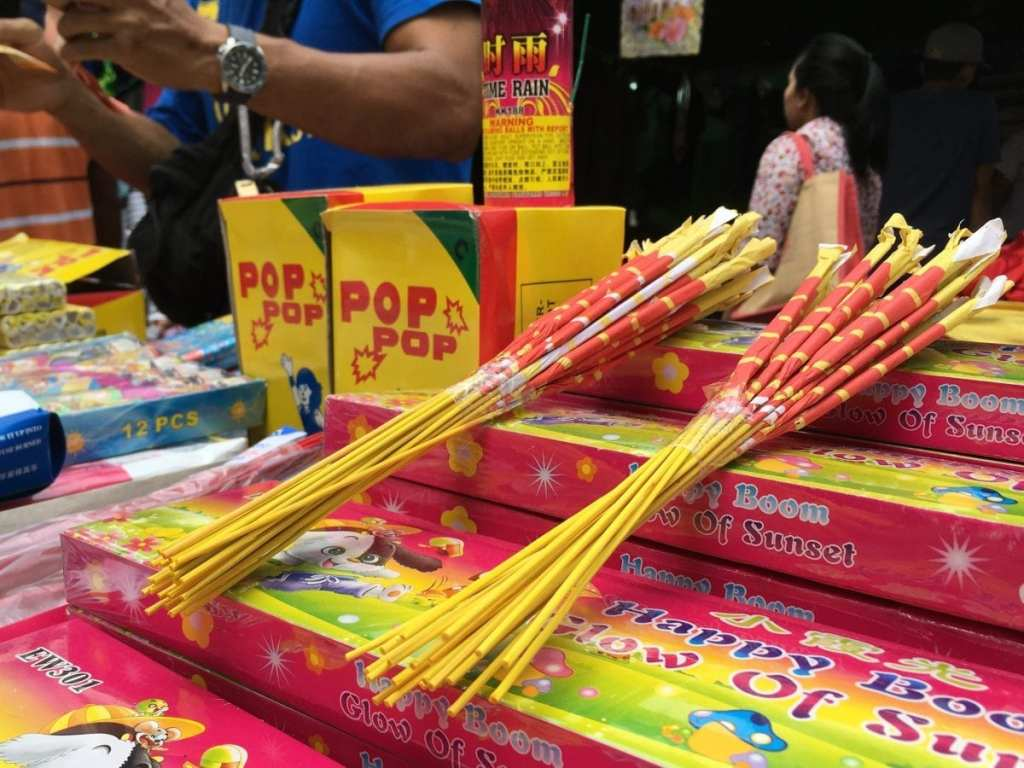 Sparklers for sale at the Ramadan market in Kuala Lumpur