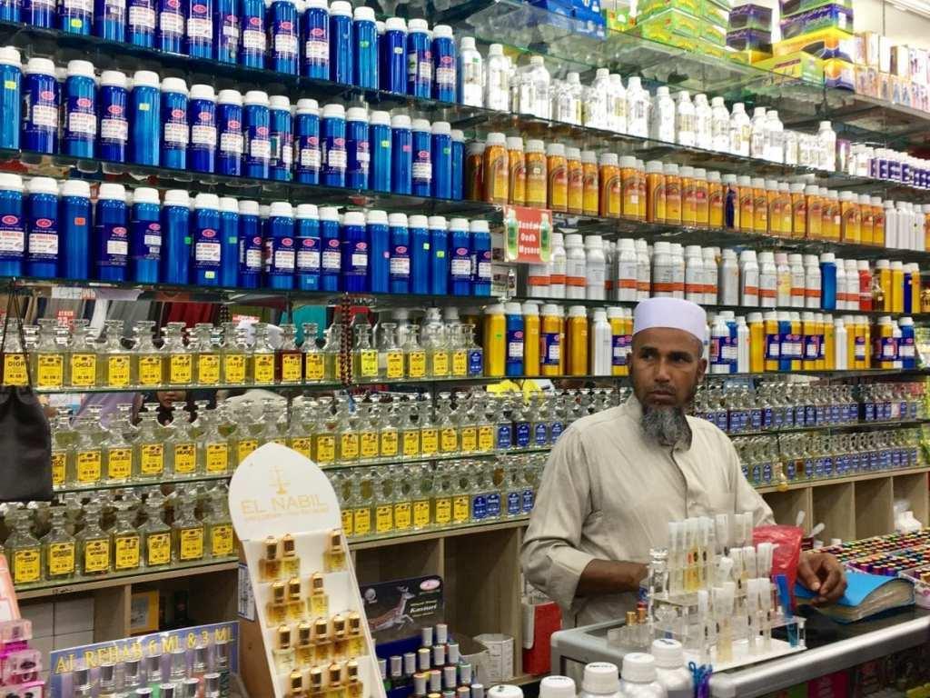 A perfume seller at the Ramadan market in Kuala Lumpur