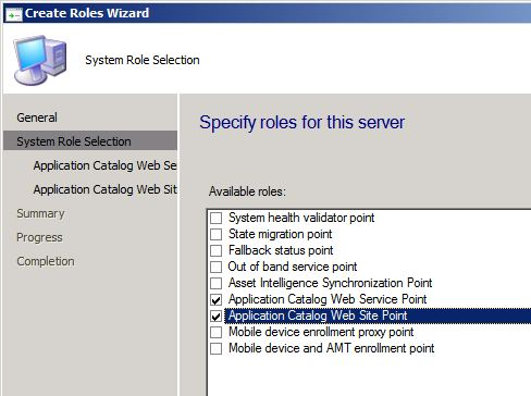 Application Catalog site roles