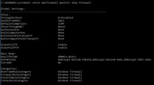 netsh advfirewall monitor show firewall