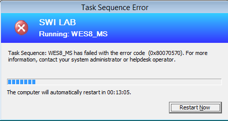 The task sequence has failed with the error 0x80070570 – ConfigMgr 2012