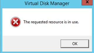Microsoft Failover Cluster - Requested resource is in use – Disk Manager