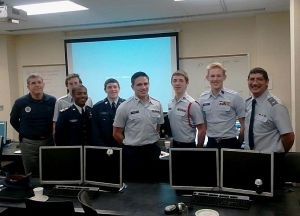 Photo by Mark Krzyszkowski – Members who participate in the semi-finals of CyberPatriot: Lieutenant Col. Robert June, Cadets Kyle Maloy, Second Lieutenant Travis Maxwell, Senior Airman Taide Romero, Technical Sergeant Jacob Fuiten, Chief Master Sergeants Andrew Parr and Carter Welsh, First Lieutenant John Bruwer.