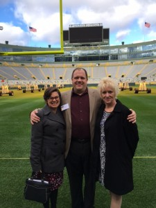 Major Todd Mandel tours Lambeau with Colonel Rose Hunt (right) and Dr. Heather Linville (left) after the award ceremony.