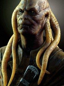 Griezelig figuur van een man met tentakels in plaats van haar