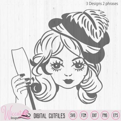 Cheers vintage Girl face svg, new year teen svg