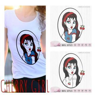 Cherry Fruit girl svg, cherry cartoon svg,