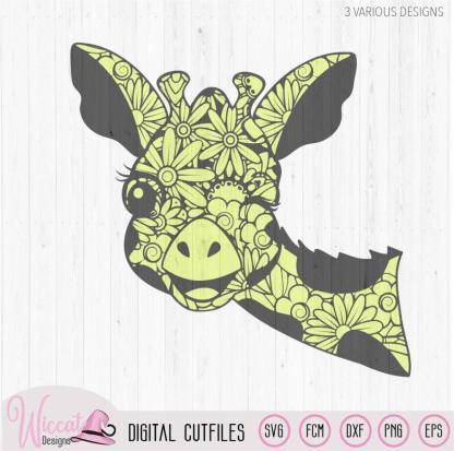 Winking Zentangle Giraffe, mandala animal