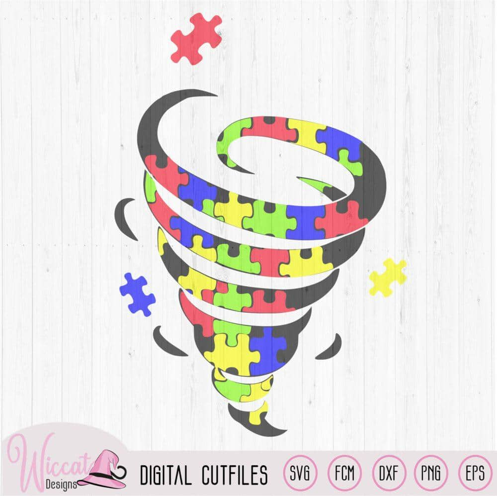 Tornado with puzzle pieces, Autism free file – Wiccat Designs