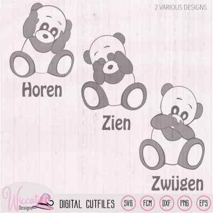 Panda bear hear no evil, see no evil