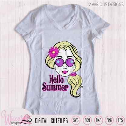 Cool Summer girl with Sun glasses, Hello summer quote, flower girl Svg, teenager cartoon, Girl face svg, t shirt desig, cricut svg, Scanncut