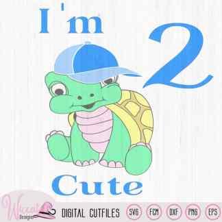 Birthday boy Turtle svg, I'm 2 cute, Toddler Second birthday, kids quote svg, cartoon turtle design, scanncut file, boys t shirt designs
