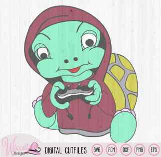 Gaming turtle boy with joystick