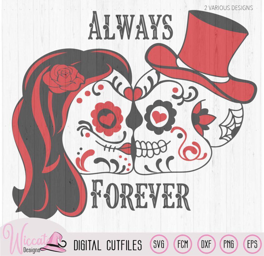 Sugar Skull Valentine Couple Svg Wiccat Designs