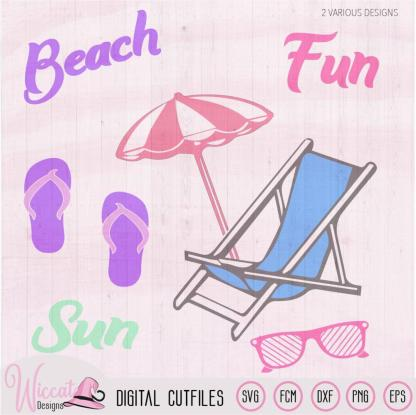 Summer Holiday beach elements with flip flops