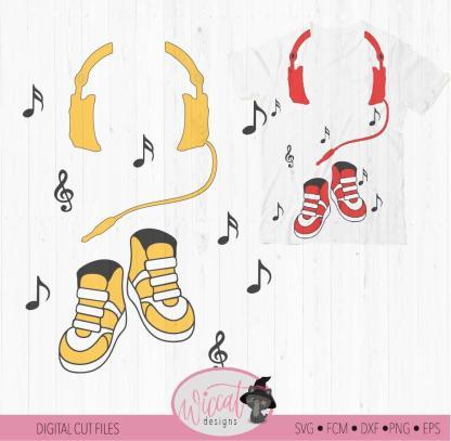 DJ Headphone and dancing Sneakers