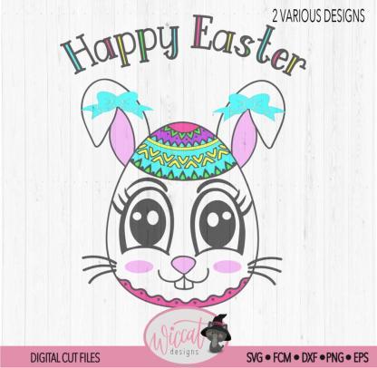 Easter egg bunny girl face, kawaii easter