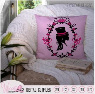 Girl Portrait with top hat, cameo silhouette,